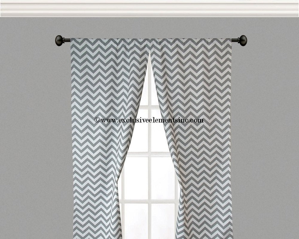 Curtain Panels Grey And White Zig Zag Chevron By Exclusiveelements
