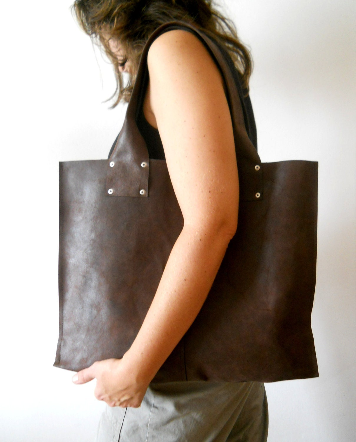 Oversize leathre tote bag, for every day use - Dark brown - - Smadars