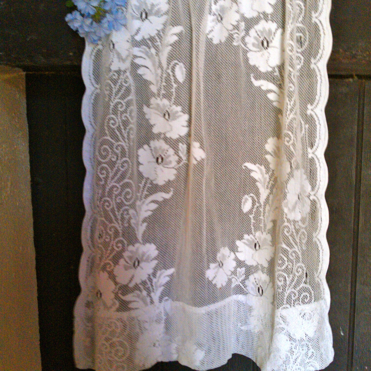 vintage small crochet lace curtain by biarritzvintage on etsy