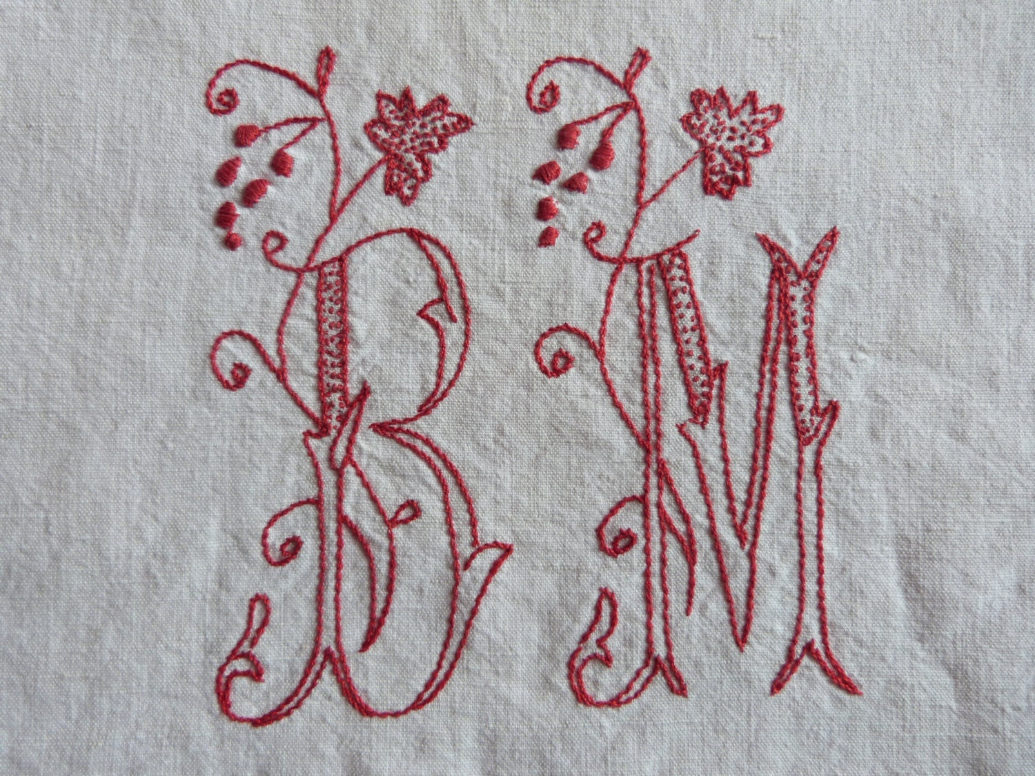 Antique French linen dowry sheet, hand monogrammed wedding linens w red monograms BM w floral embroidery, heirloom bed linens made in France - MyFrenchAntiqueShop