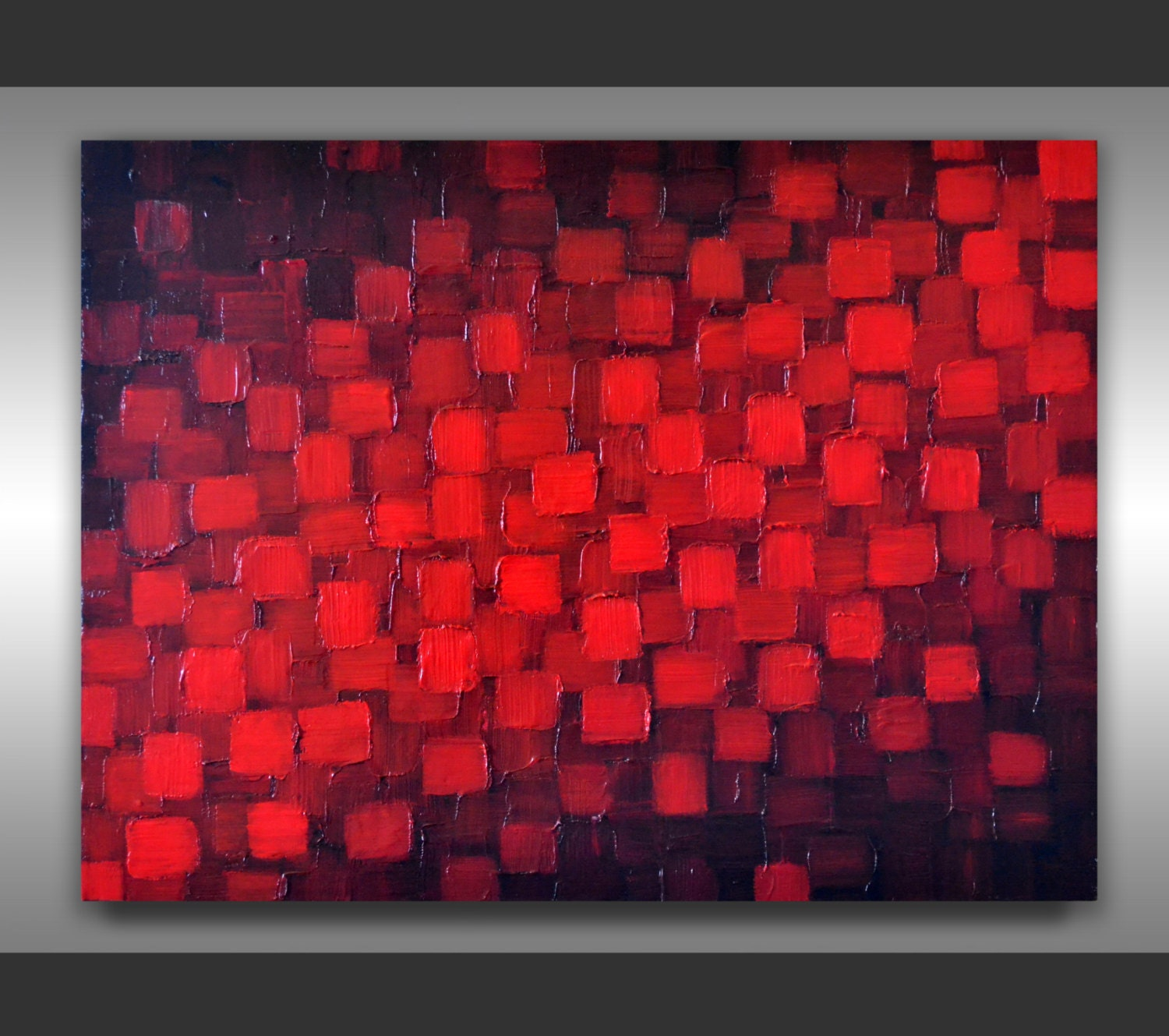 Original Art Abstract Black Red Painting 18x24 Textured Modern Palette Knife Geometric Black Red Painting Abstract Heavy Texture Wall Art - ZarasShop