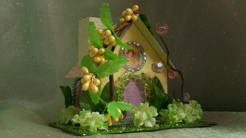 Glitter putz miniature paper house light up by highlandsarts - Light up easter decorations ...