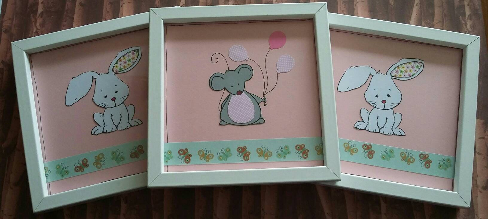 Nursery pictures picture frames  handmade new baby gift baby girlbabys room decorated frame mouse rabbits animal frames nursery