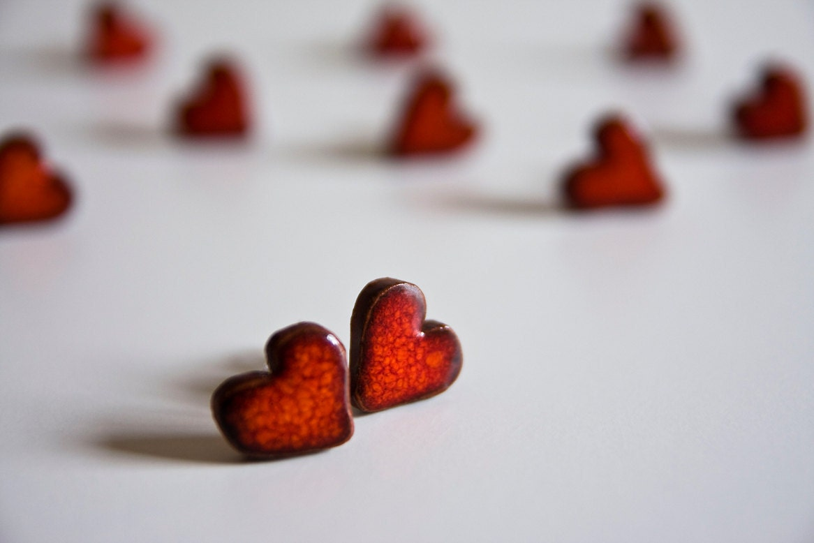 clip on earrings, LOVE HEARTS, deep crimson red, ceramic jewelry by karoArt, Ireland - karoArt