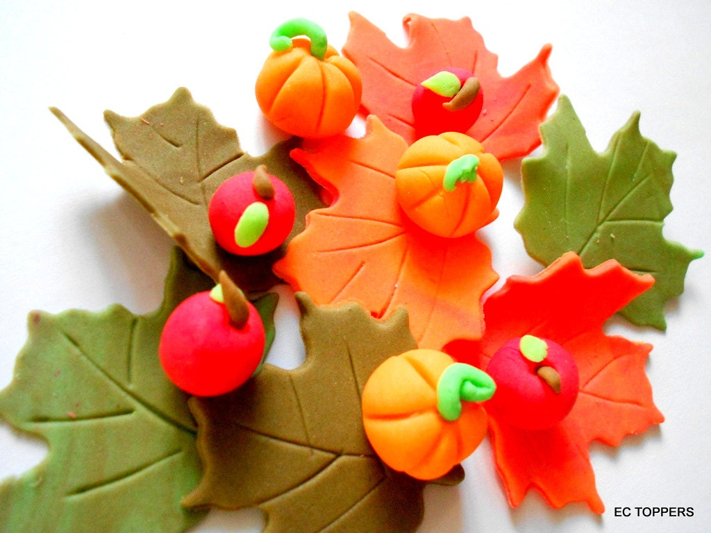 24 pcs Fall leaves pumpkins and apple Fondant Toppers - ECTOPPERS