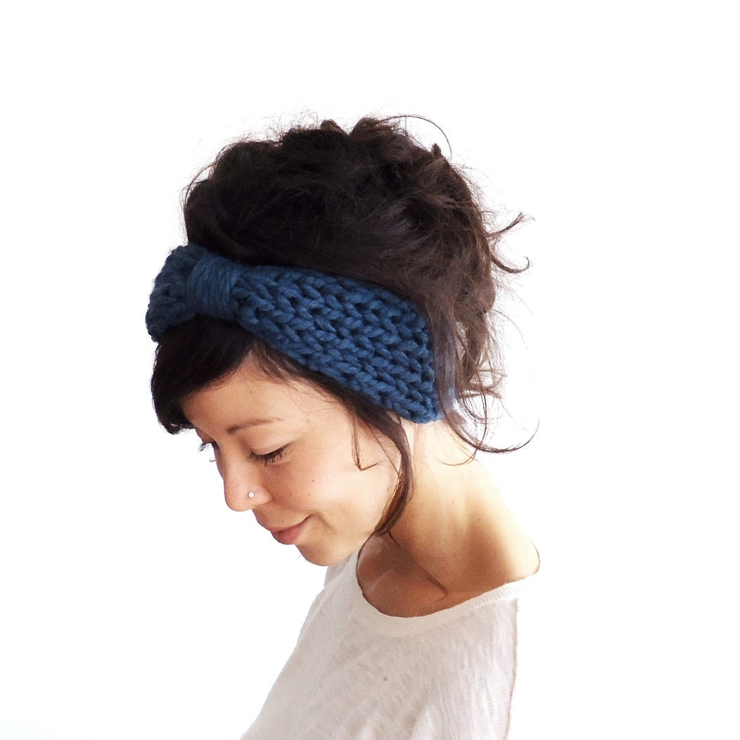 Chunky Knit Turban Headband Midnight Blue - ChiChiDee