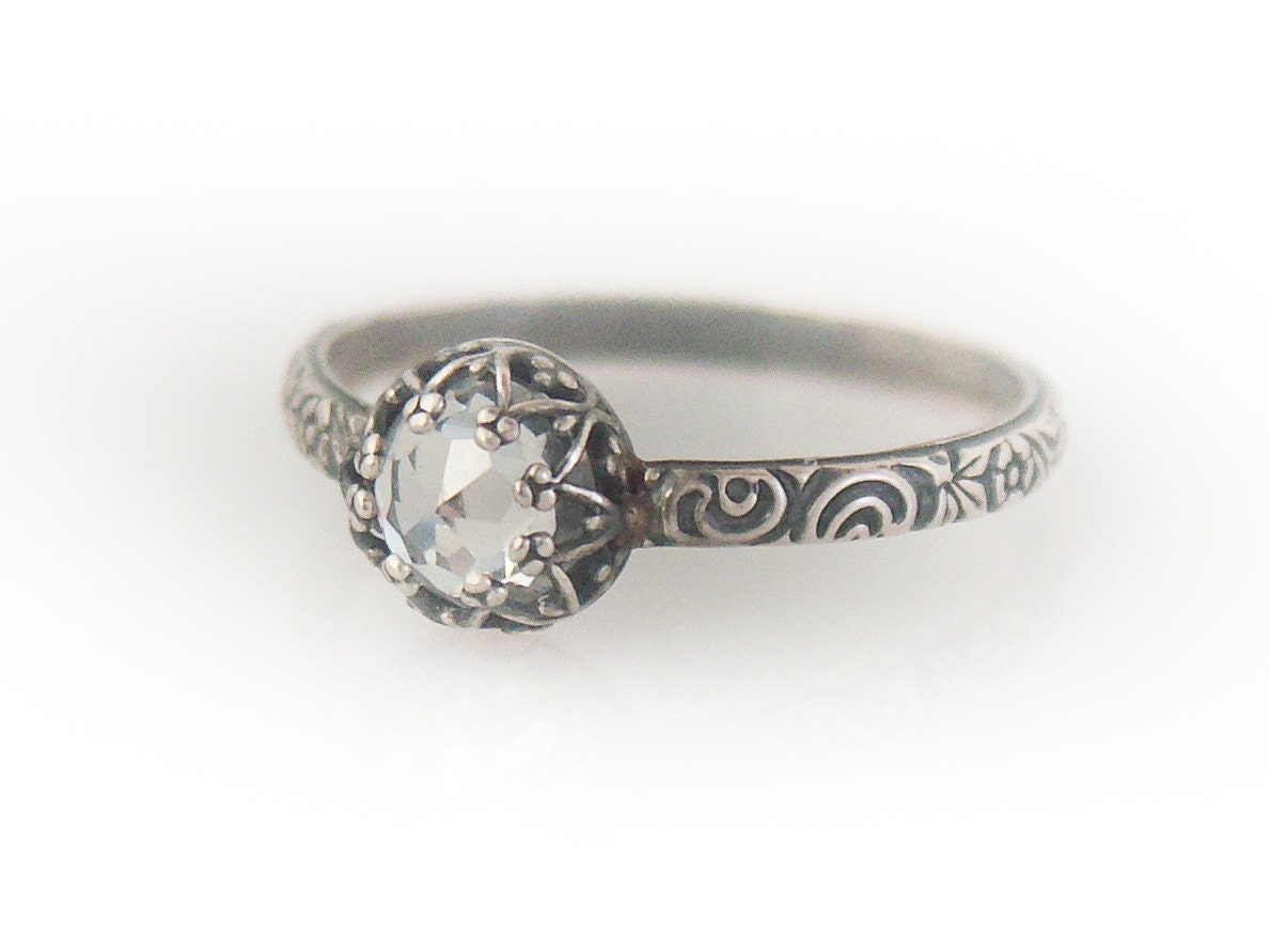 Classic Rose Cut CZ Ring - Rose Cut Clear Cubic Zirconia Sterling Silver Pattern Ring - Custom created in your size