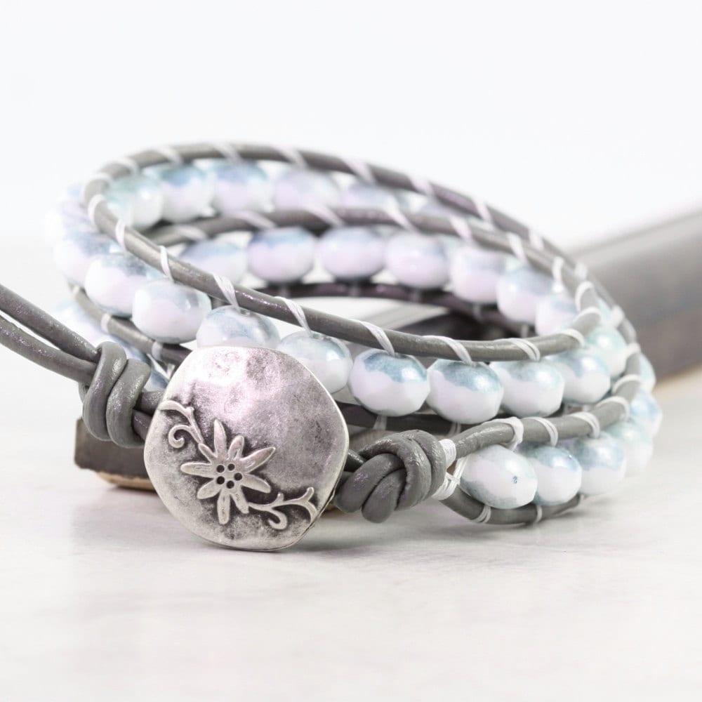 Leather Wrap Bohemian Bracelet Gray Leather Fall Fashion Jewelry Boho Style Double Wrap Brass White Blue Denim Silver Sea Anemone Beach - AbacusBeadCreations