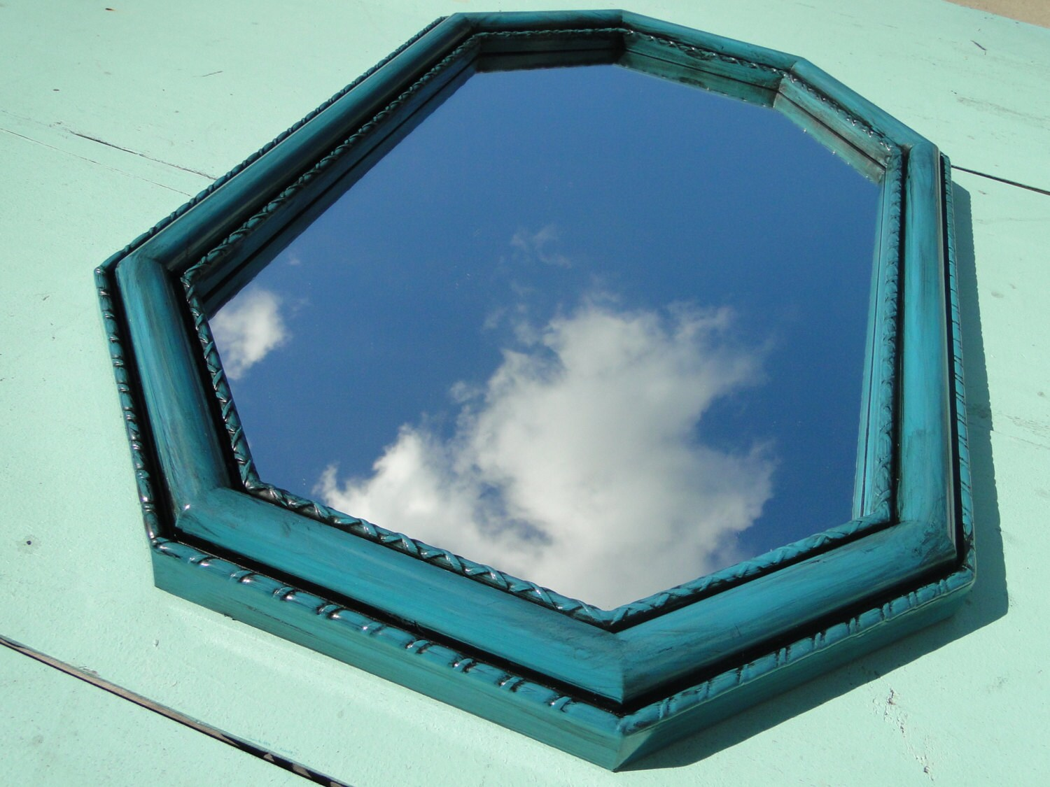 Framed mirror blue aqua teal turquoise tropical by trwpainted for Teal framed mirror
