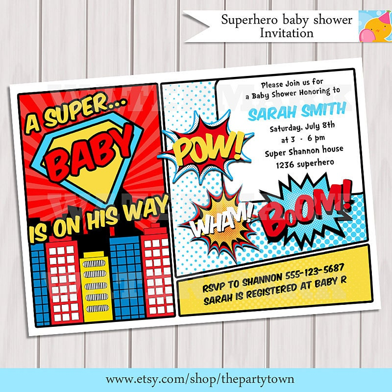 sibling and baby photo ideas - Superhero Baby Shower Invitation Printable Invite by