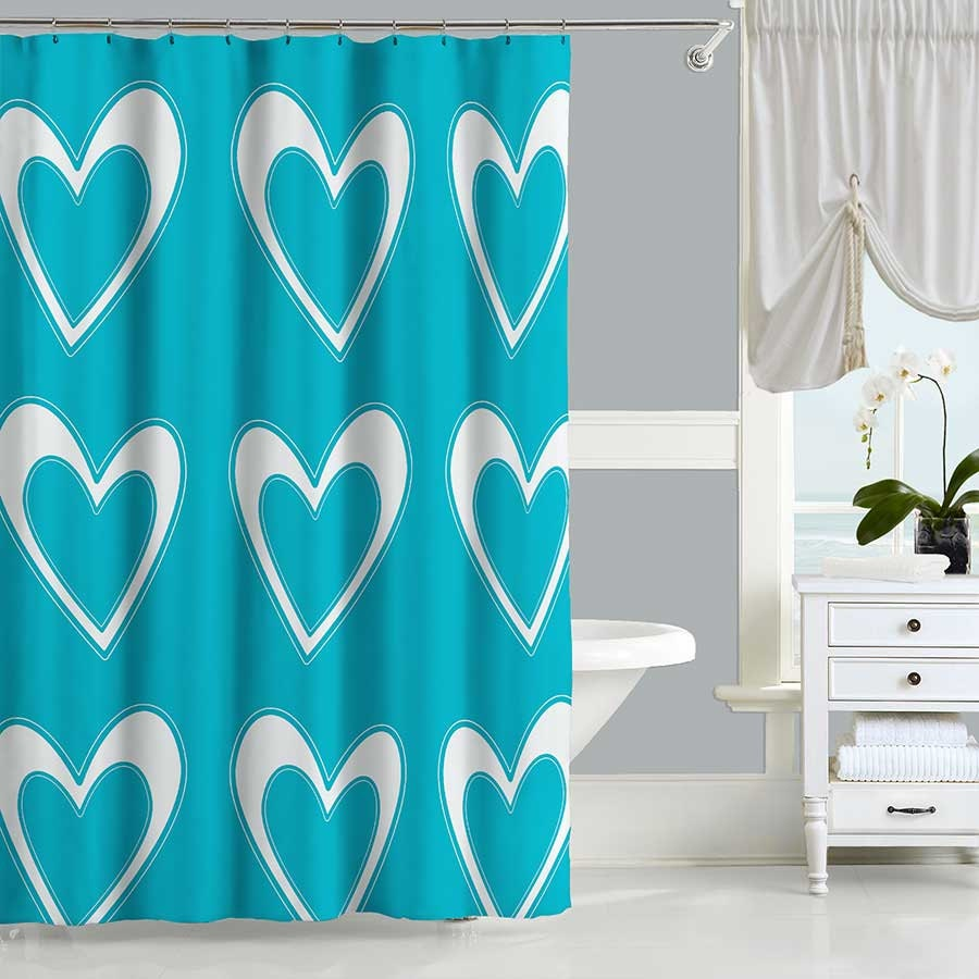 Black and teal shower curtain