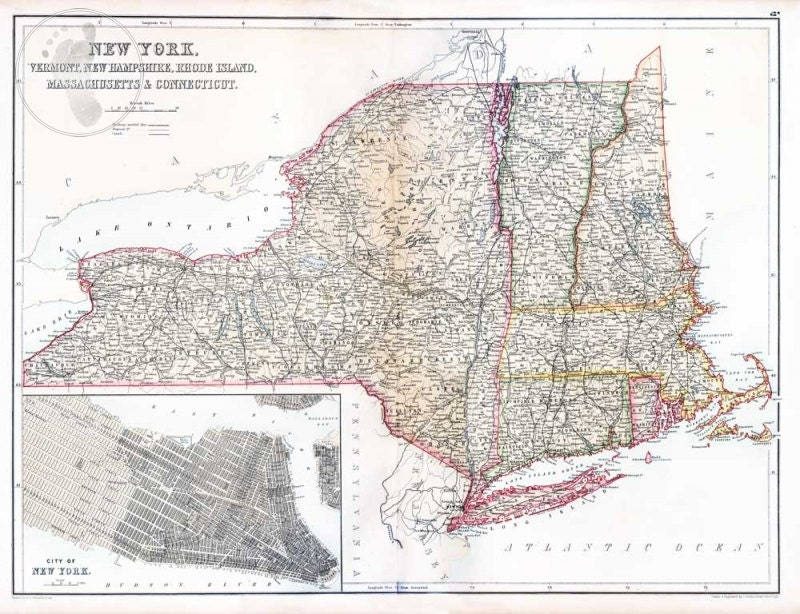 Map Of New York Vermont New Hampshire Rhode Island By SGPrints