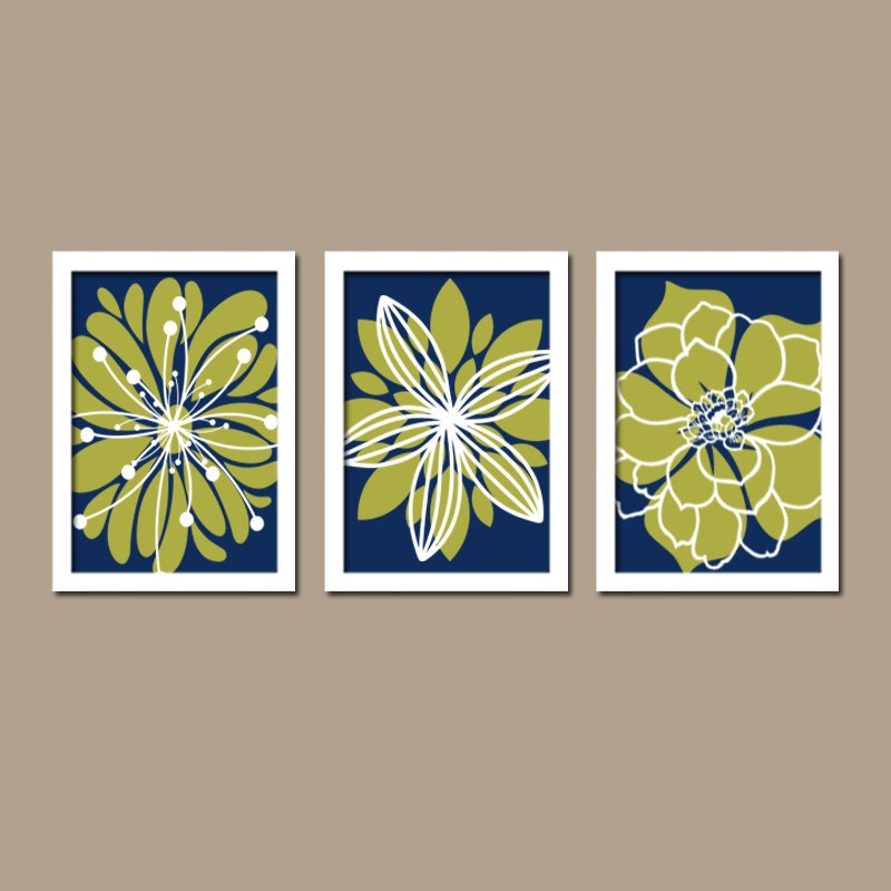 Navy Blue And Green Wall Decor : Wall art canvas artwork navy blue olive green white by
