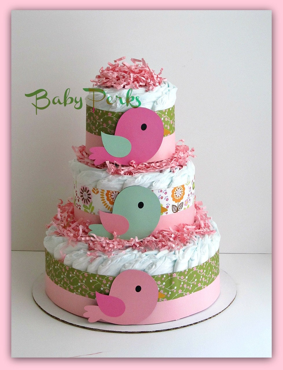 Bird diaper cake baby girl baby shower nesting baby by for Baby shower diaper decoration ideas