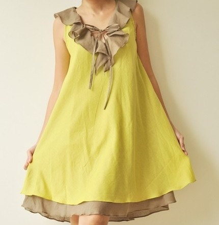 Twist....Green Brown Cotton dress - aftershowershop