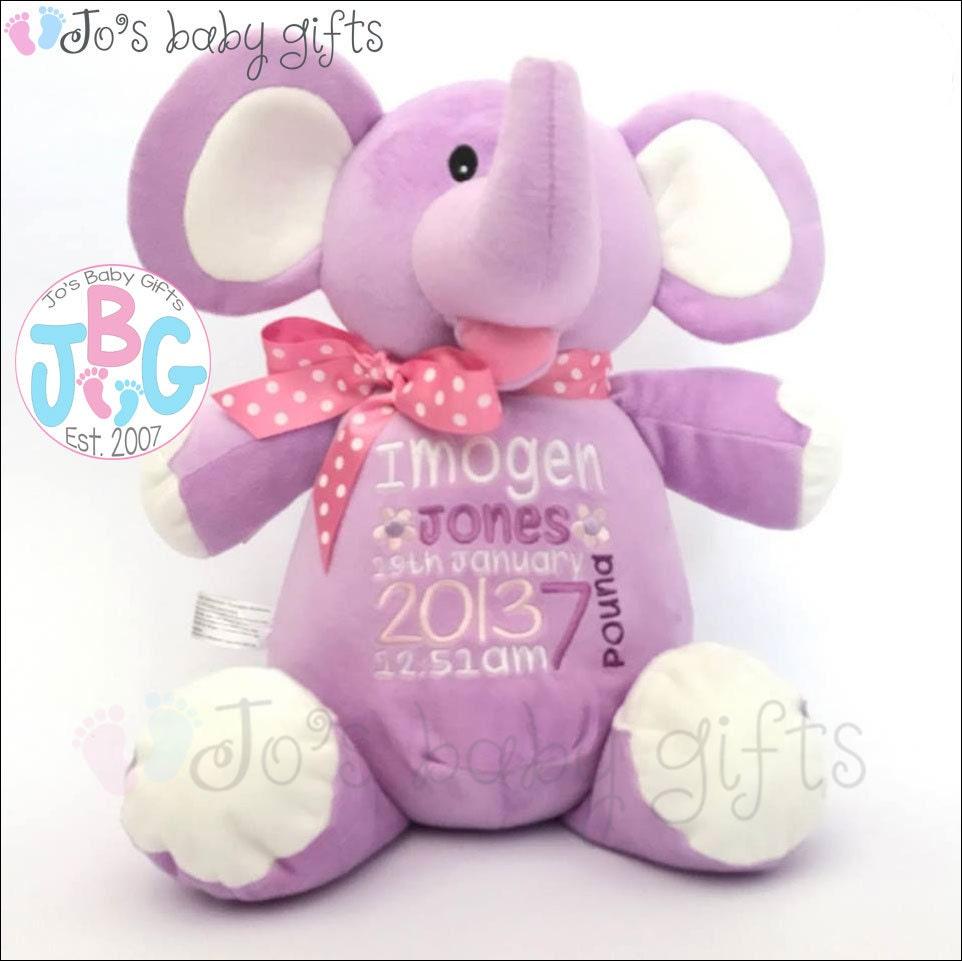 Personalised Teddy Elephant Lilac Cubby Bear New Baby Gift Elephant Cubbies Custom Embroidered Teddy Bear