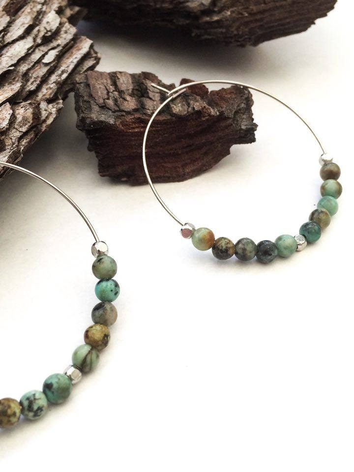 African Turquoise Hoop Earrings  Strenght  Beauty Minimalist Boho Everyday Jewellery