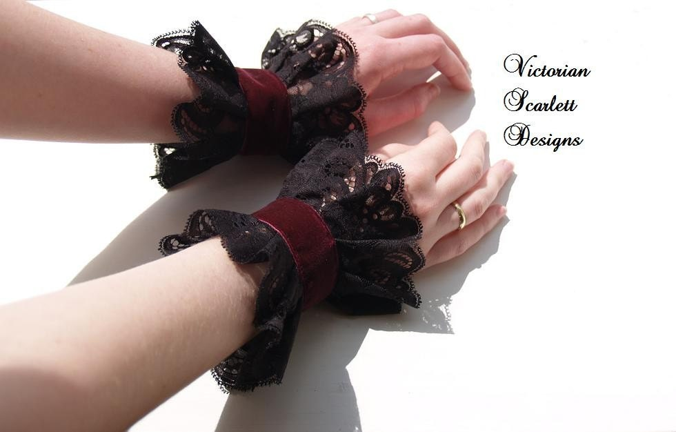 Gothic Victorian or Steampunk black lace wrist cuffs with velvet in many colors custom made by Victorian Scarlett Designs KA003 - VictorianScarlett