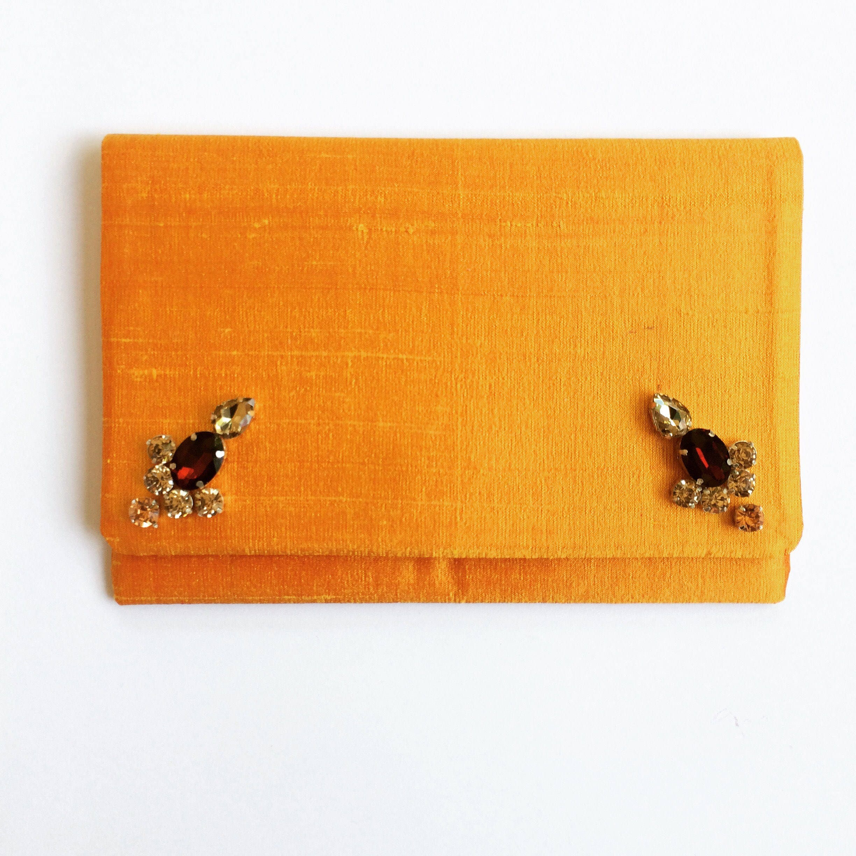 Yellow  mustard Raw silk Foldover Clutch Bag with Rhinestones Dupion Silk Handbag elegant Evening wear beautiful accessory