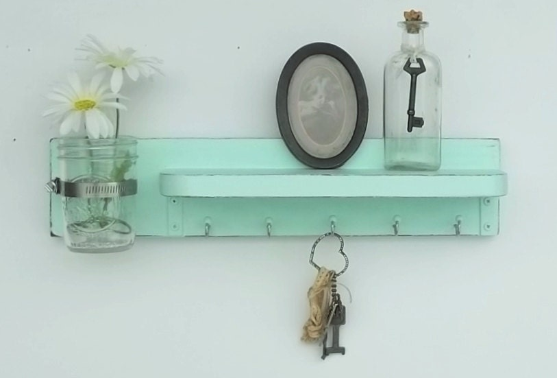 Shabby Chic Aqua.... Wood Jewelry Hanger....Key Hooks....Organizer......Mason Jar Shelf..Made to Order - cottagehomedecor
