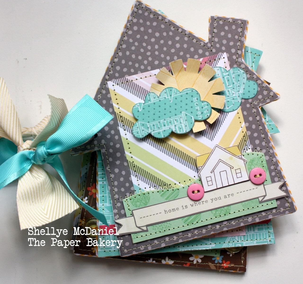 Handmade --HOME-- Mini Scrapbook Album/ Journal...House Shaped