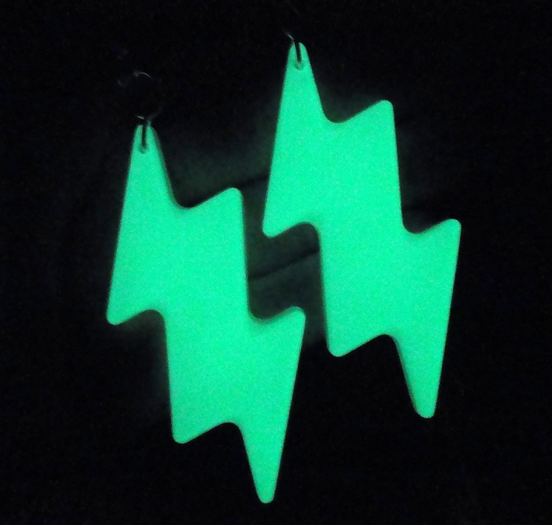 Lightning Bolt Earrings Glow In The Dark Resin By