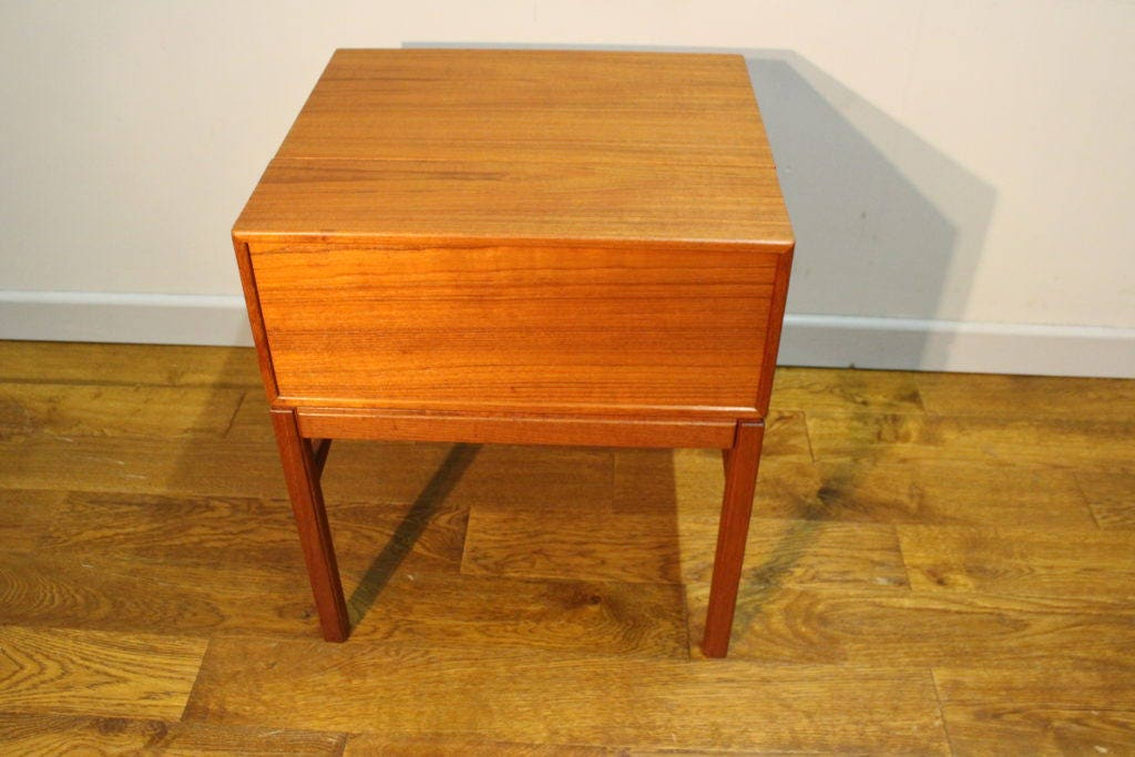 1960s vintage Swedish teak sewing box by an unknown quality maker