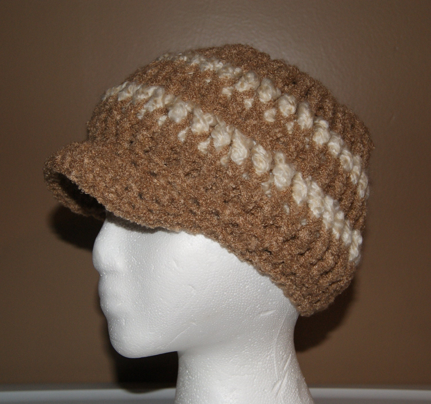 Beanie Hat With Bill Crochet Pattern : Tan Light Brown with White Stripes Soft Beanie Bill by ...
