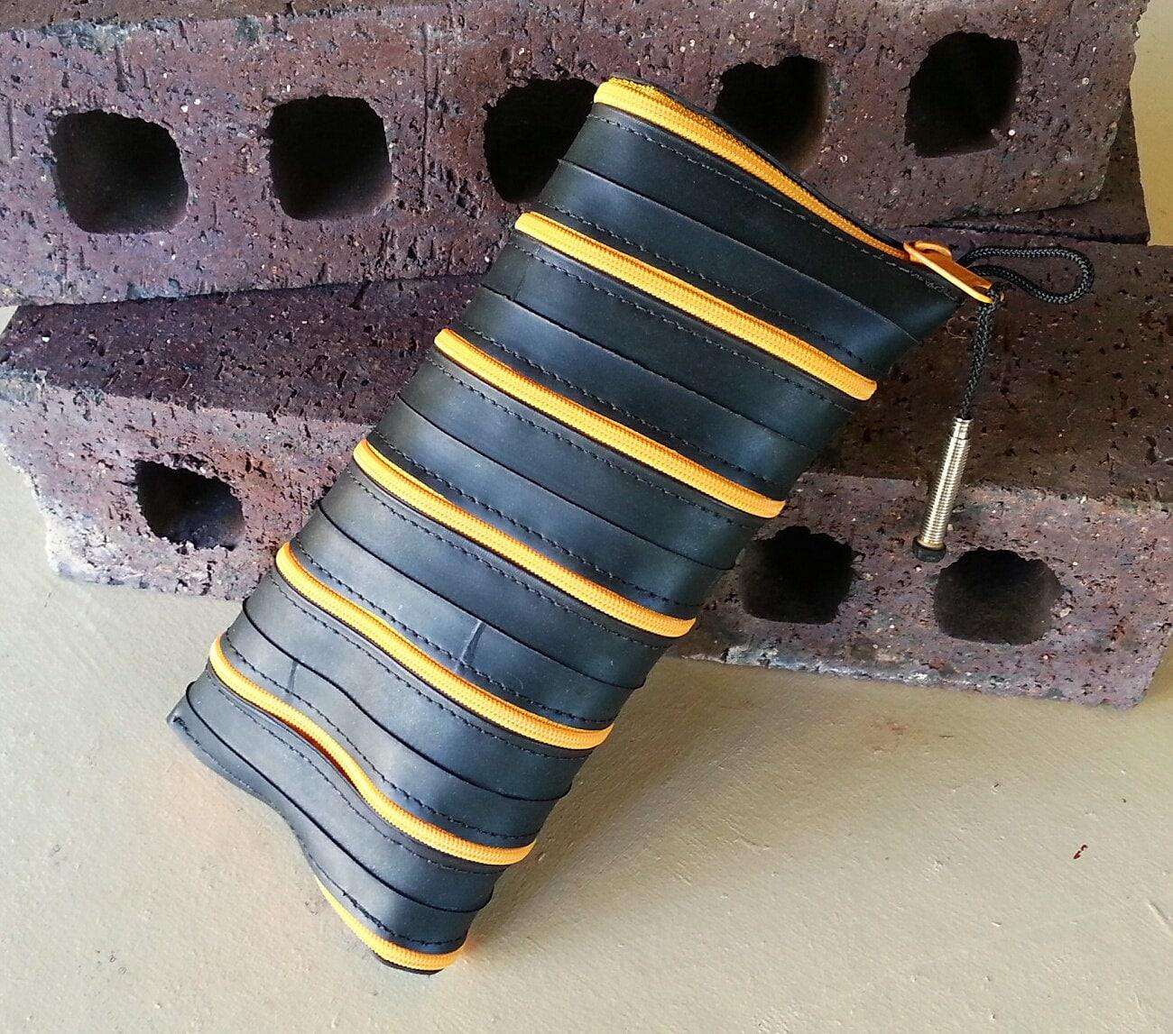 Spiral zipper pencil case - Recycled Bike Tube - Black & Yellow - MoabBagCompany