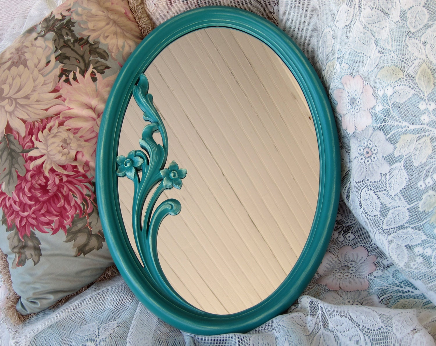Oval wall mirror teal green vintage home by wildmountainstudio for Teal framed mirror