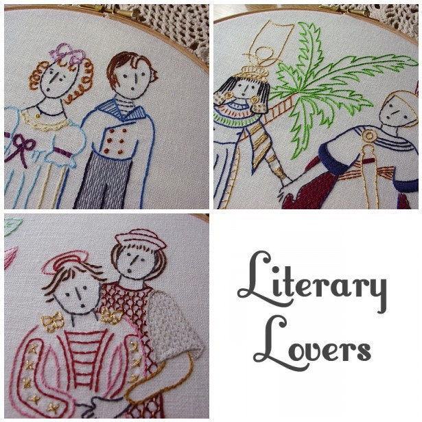 Set of embroidery patterns pdf literary by littledorritandco