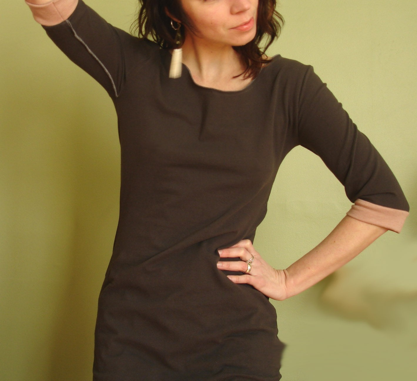 half sleeved scoop neck tunic CEMENT/CLAY PINK - joclothing