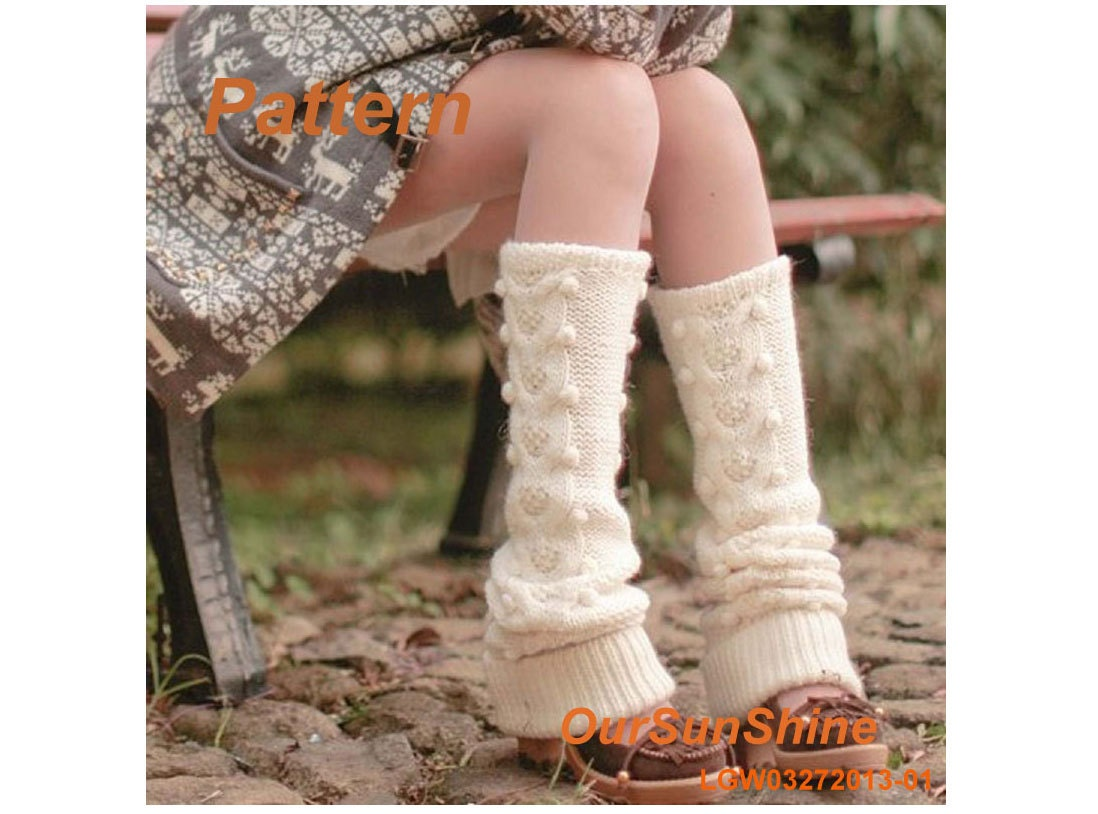 Knitting Pattern - Cream Wool Dotted Knitted Leg-warmers PDF Pattern - LGW03272013-01 - Instant Download - OurSunShine