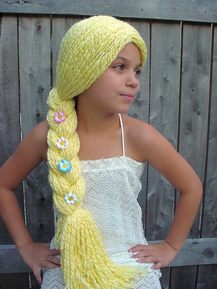 Crochet Yarn Hair Patterns : Yarn Falls Hair Crochet Fashion Wig Rapunzel Custom by coocoos