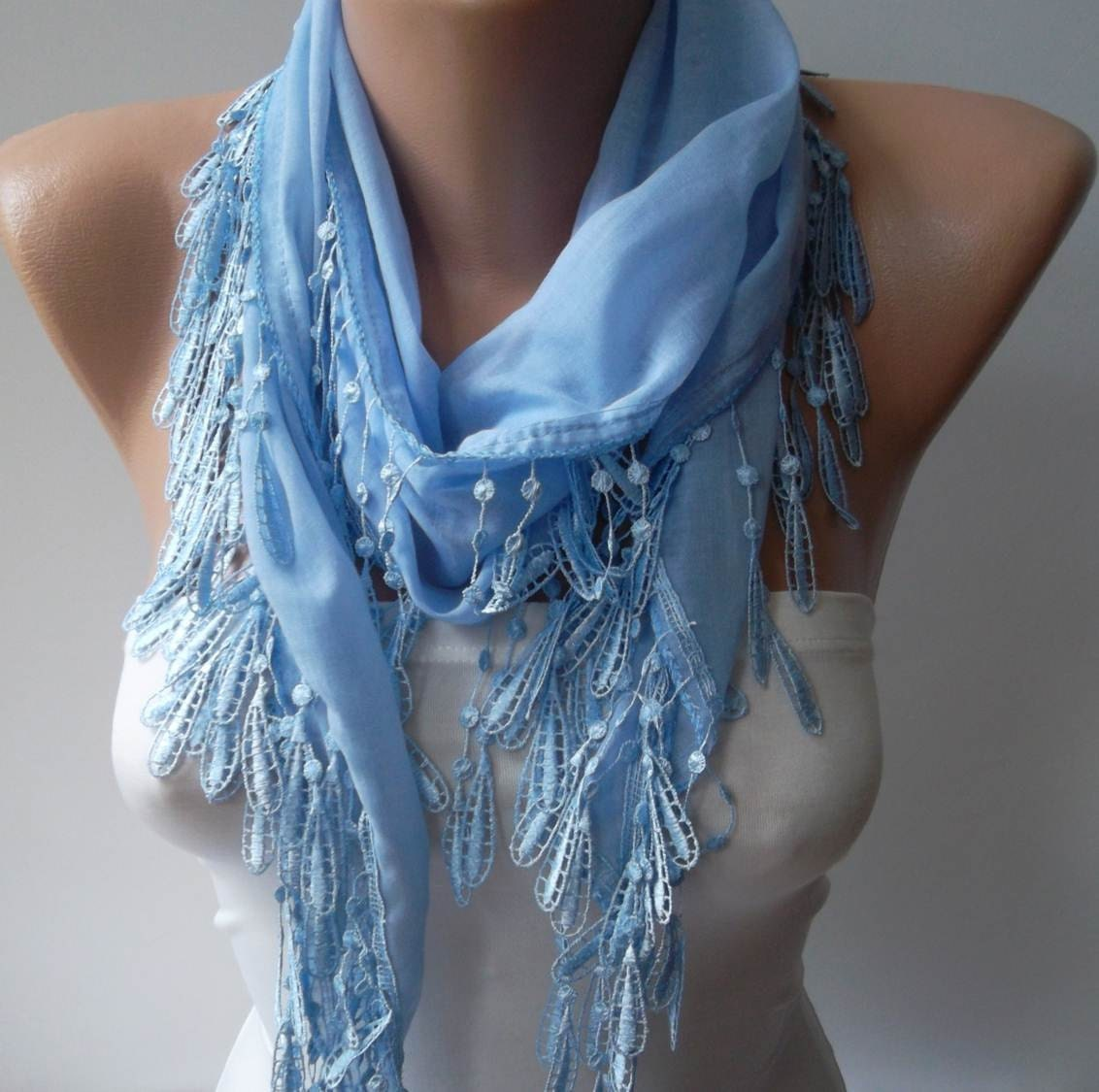 light blue and elegance shawl scarf with lace by swedishshop