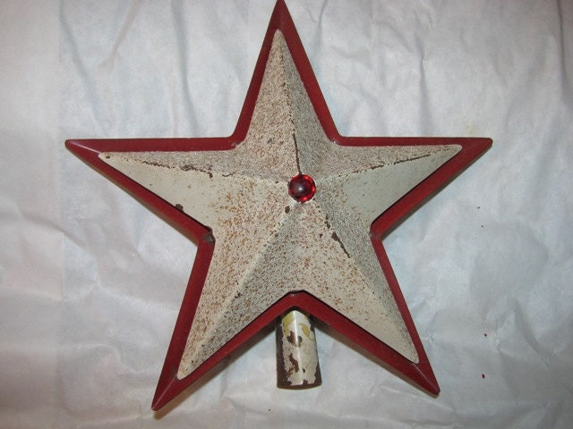 Primitive christmas tree star topper metal tin by