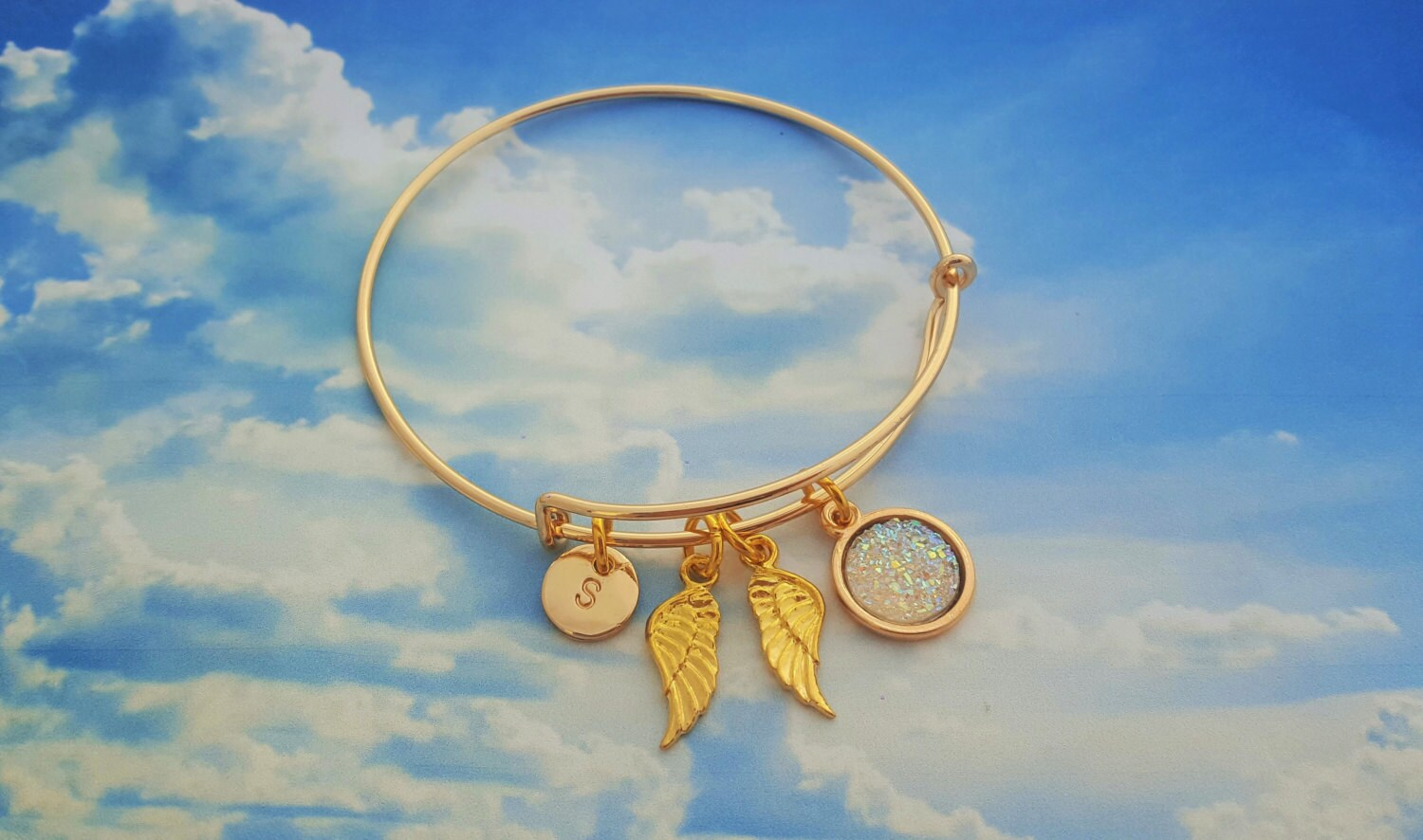 Gold Angel Bangle Spiritual Jewellery Angel Charm Bracelet Loved One Memory Sparkly Bangle Memoriam Jewelry Gold Adjustable Bangles