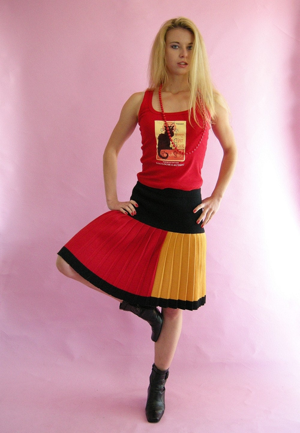 COLOR Block Pleated Vintage 80s Liz Claiborne Skirt by empressjade from etsy.com