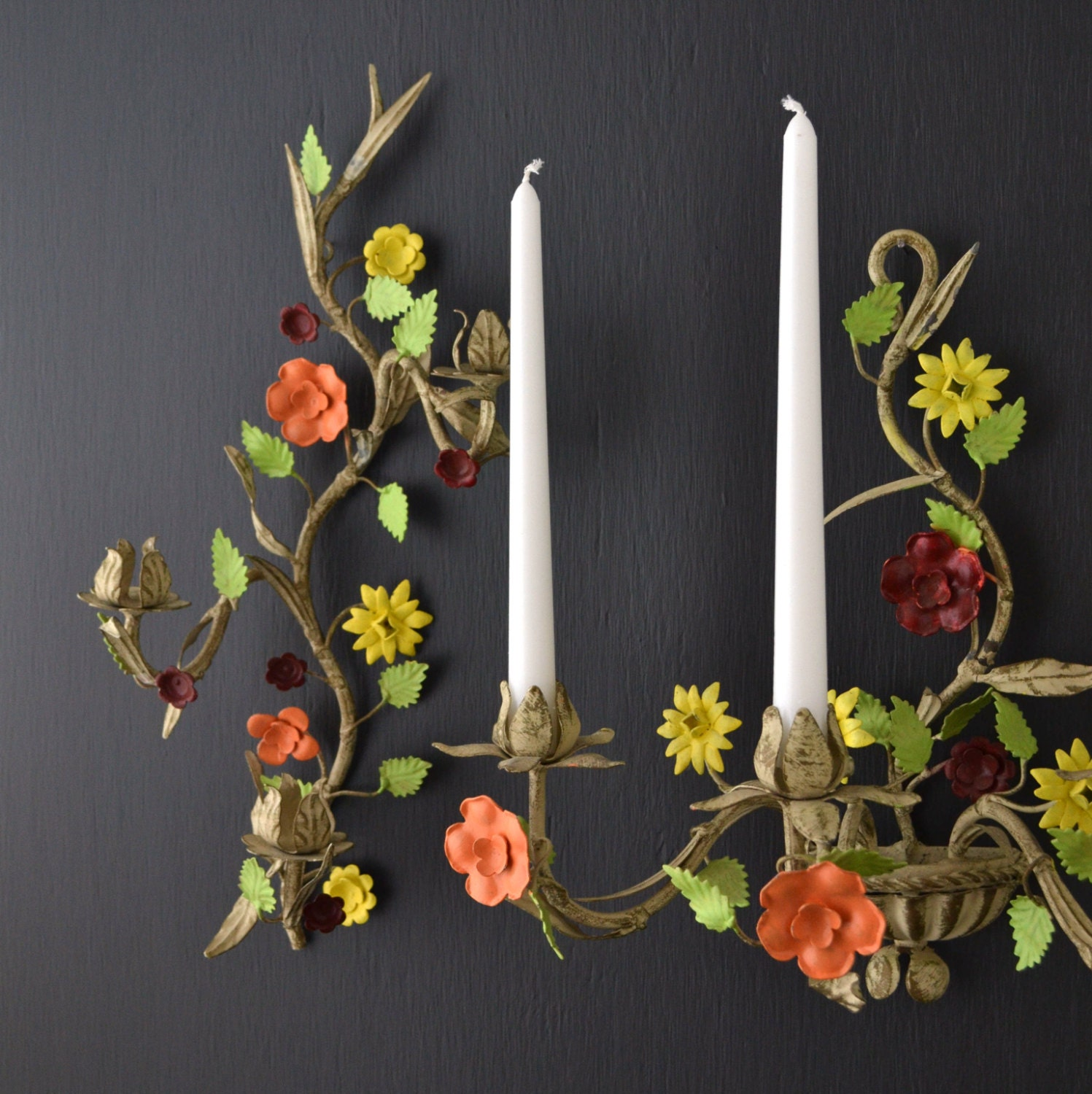 Wall Sconces That Hold Flowers: Italian Toleware Wall Sconce Set Metal Tole Flowers By