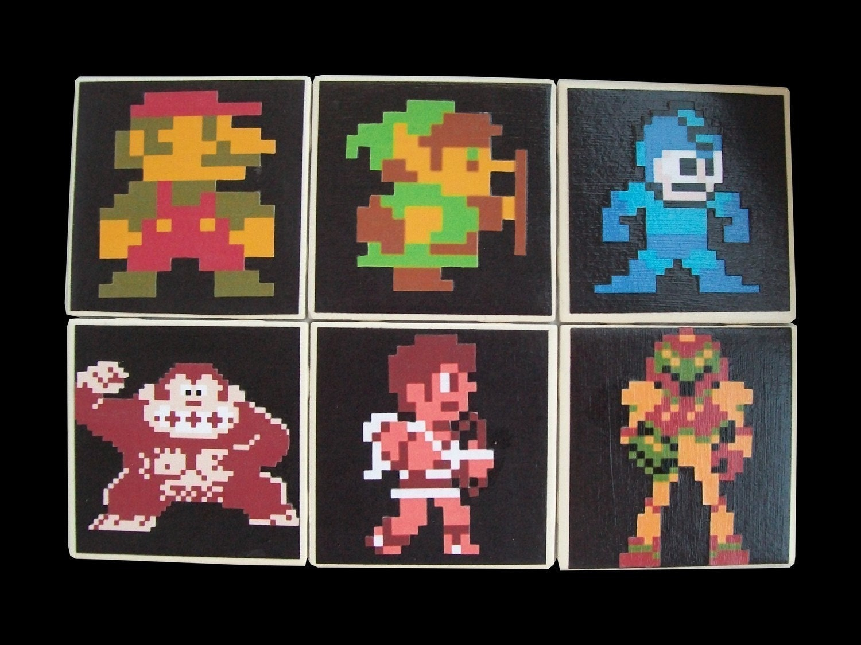 Nintendo 8 Bit Character Coaster Set By Missmagnoliasart