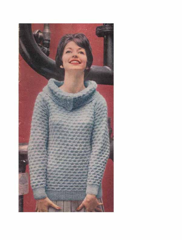 Cowl Neck Hoodie Knitting Pattern : 1960s VINTAGE KNITTING PATTERN Cowl Neck by GrannyTakesATrip