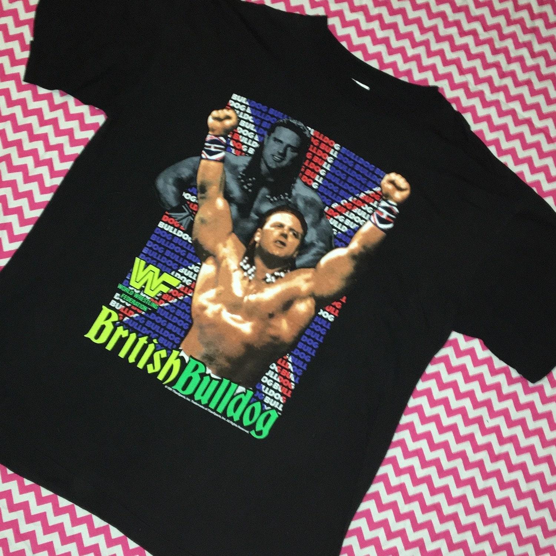 Vintage British Bulldog 1991 Wrestling Tshirt Size XL WWF Retro