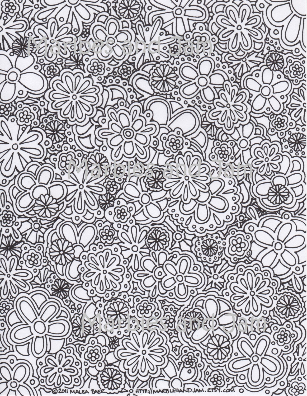 Flowers Abstract Coloring Page By MarblesAndJam On Etsy
