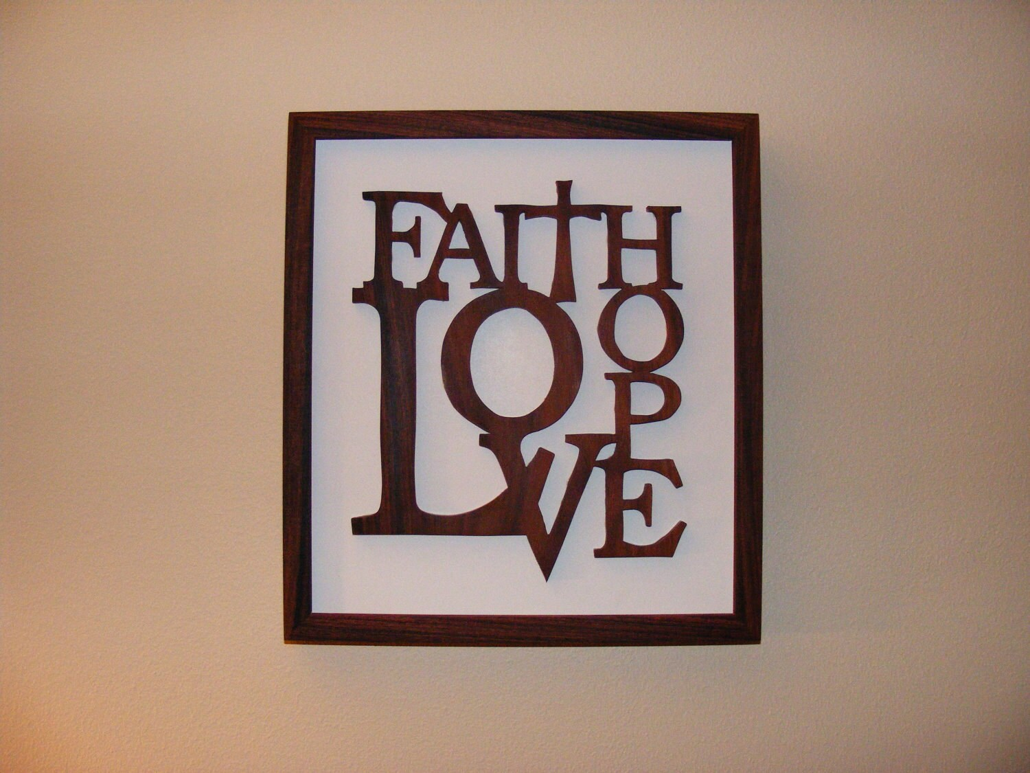 faith hope love home decor rosewood wall art by roundtopcrafts