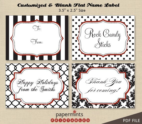 ... Name Labels - for dessert table, holiday tag, thank you, mailing