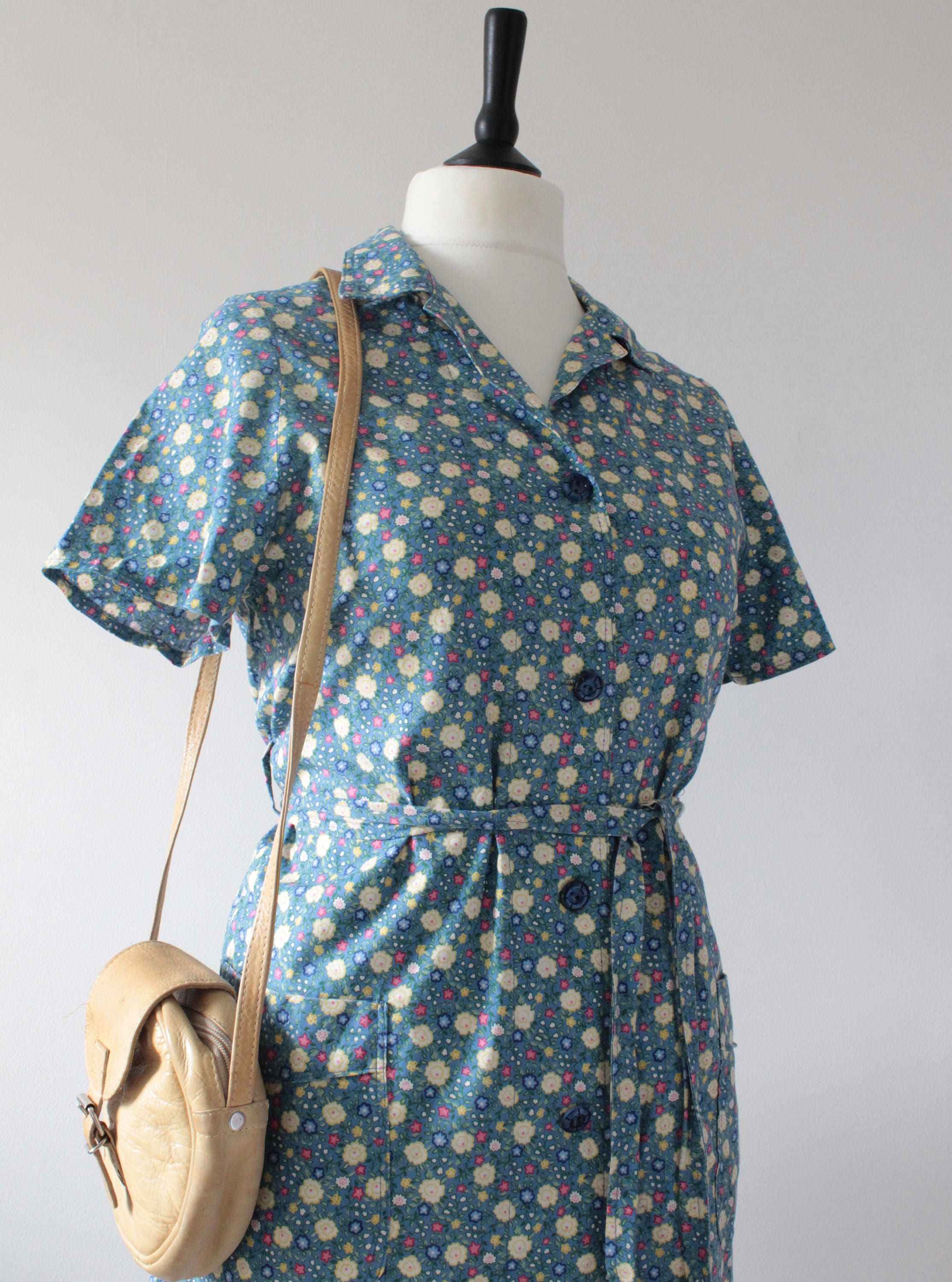 1970s VINTAGE Shirt Dress RETRO Floral Casual Summer Sundress MOD Scooter Gogo Boho Chic Blue Dress Flower Power Kitsch uk 14 ML