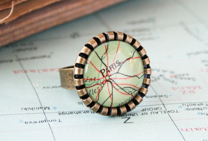 Custom Map Cocktail Ring Paris Keepsake Custom Made Jewellery Personalized Ring Jewelry Traveller Sweetheart Ring Girlfriend Gift