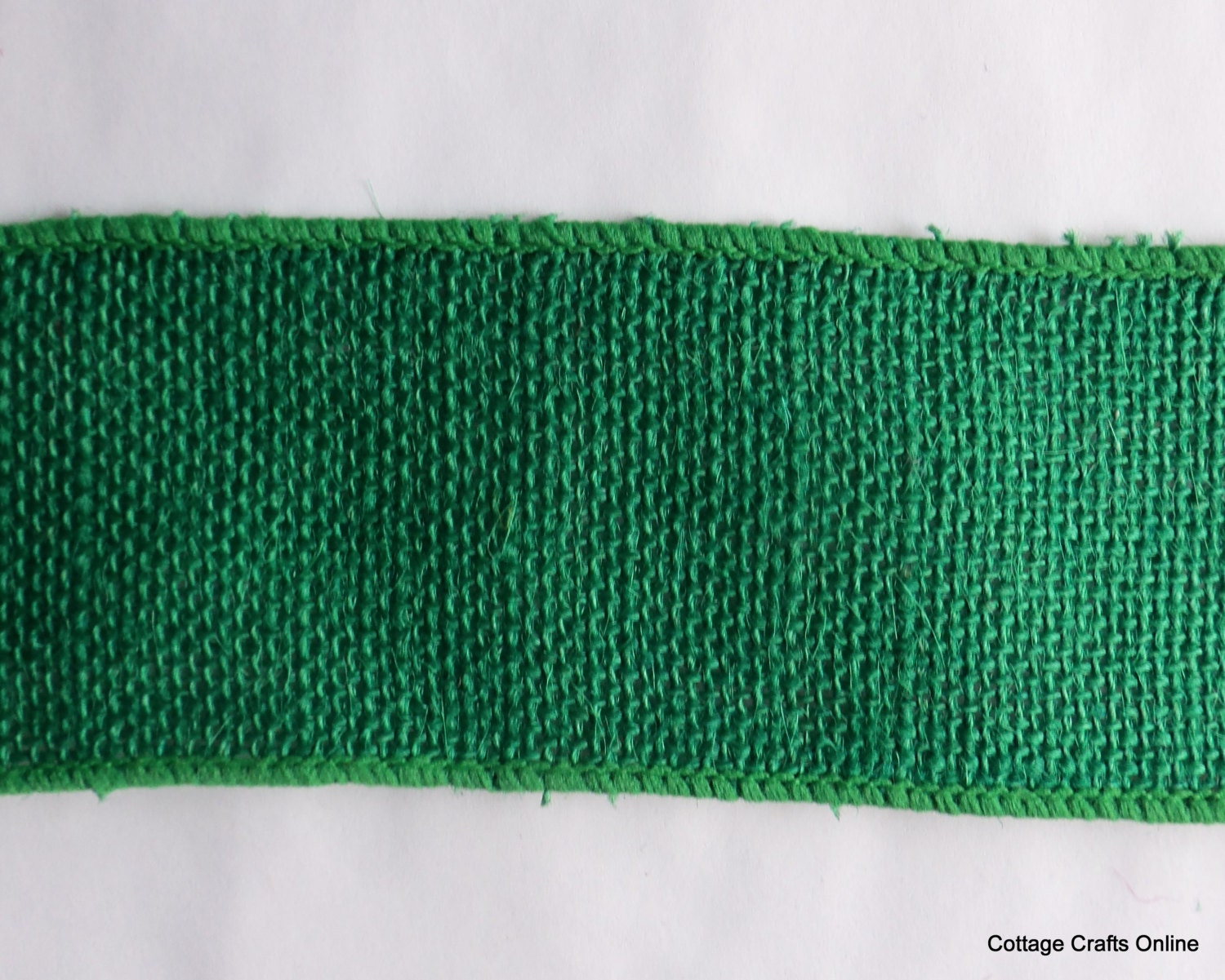 Burlap wired ribbon 2 1 2 kelly green by cottagecraftsonline for Green burlap ribbon