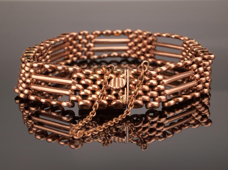 Antique Rose Gold Bracelet Edwardian Gate Bracelet c1910 17.7gms