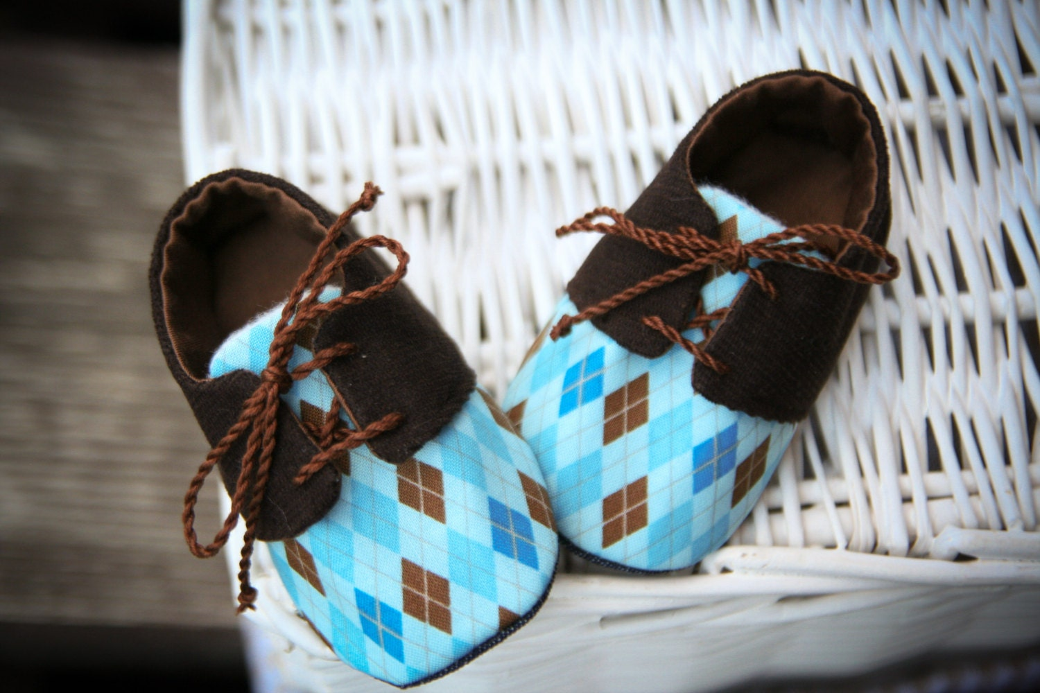 Brown & blue argyle baby boy oxford shoes by